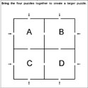 A completed larger puzzle with 8 possible entry/exit points.