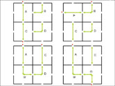 Examples of layouts for larger puzzles using different arrangments of smaller puzzles.