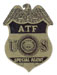 The Bureau of ATF subdued badge (Dept. of Justice).